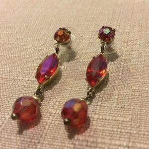 Bright pink bead and crystal earrings